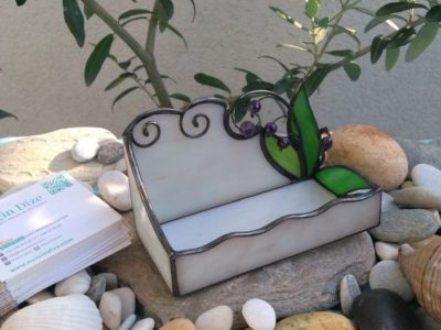 Ametyst Stained Glass Business Card Holder 01