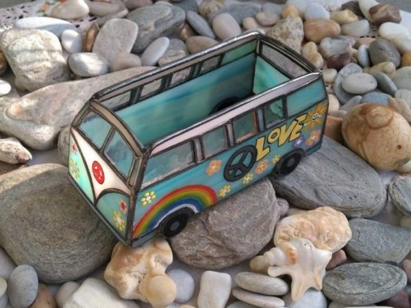 Hippie Van Stained Glass Business Card Holder-horizantal-06