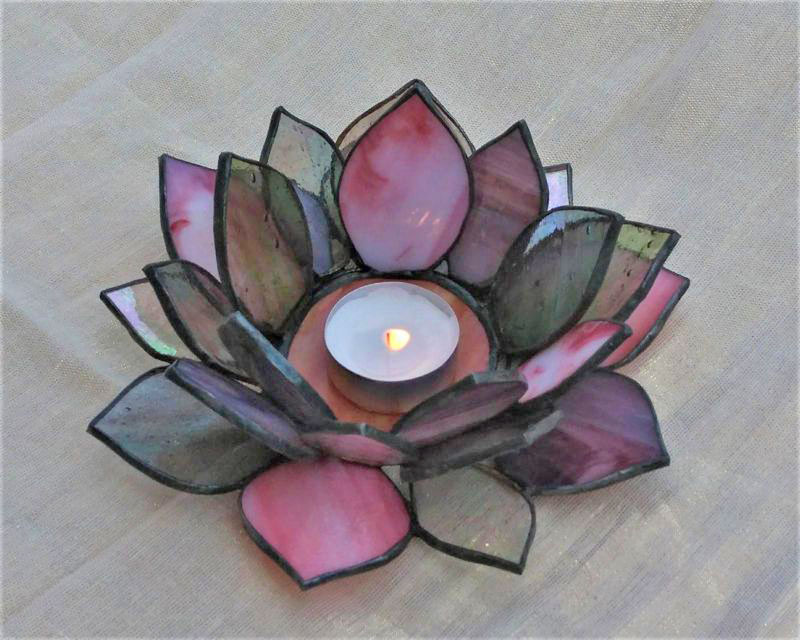 Lotus Flower Stained Glass Candle Holder Nurçin Dize Vitray Mozaik