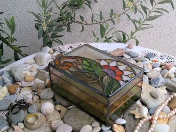 Egzotic Flower Stained Glass Jewelry Box-A-10